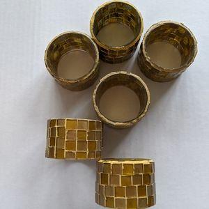 Set of 6 mosaic napkin rings vintage